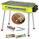 Pkfinrd Churrasqueira elétrica portátil para uso interno, sem fumaça, churrasqueira, mesa de grelha ajustável para casa, acampamento, viagem, caminhada (2-8 pessoas), verde (cor: verde)