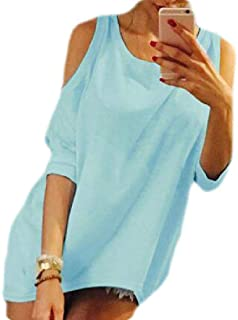 S-Fly Women Casual V Neck Half Sleeve Cold Shoulder Plain Blouse Top T-Shirts