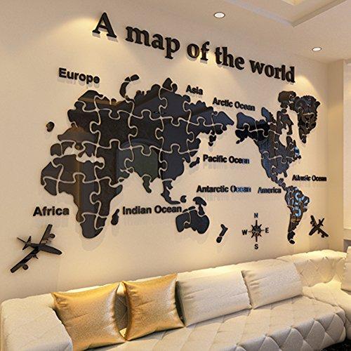 Mundo mapa acrílico 3d wall sticker,Decoración de la pared para oficina salón fondo papel pintado dormitorio grande -F 130x205cm(51x81inch)