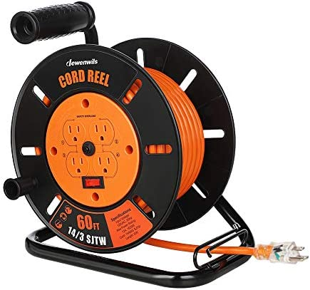 DEWENWILS 60FT Open Cord Reel Heavy Duty Extension Cord Reel with 4 Grounted Outlets Hand Wind product image