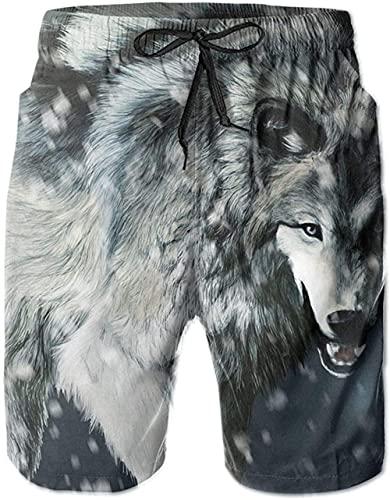 Shorts De Playa Transpirables para Hombre Bañador Shorts Wolf In Snow De Secado Rápido Adecuado para Surf De Verano Y Junto A La Piscina.