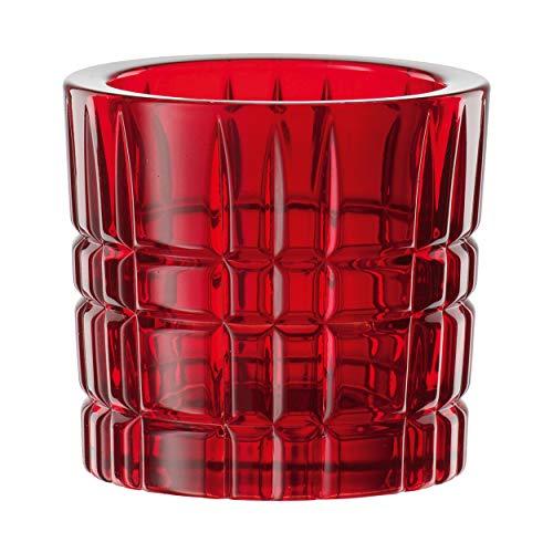 Nachtmann Square Teelichthalter, Teelicht Halter, Votivlicht, Kerzenhalter, Rot, Kristallglas, 6.6 cm, 102080
