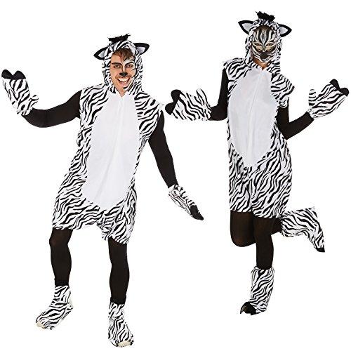 dressforfun Kostüm Zebra für Sie und Ihn | Aus weichem Fellimitat | Ärmellos und vorne mit praktischem Reißverschluss | Inkl. Handschuhe, Beinstulpen und Ganzkörperstrumpfhose (L | Nr. 300891)
