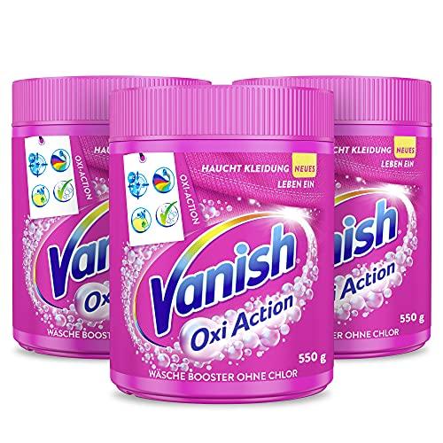 Vanish Oxi Action Pulver Pink – Fleckentferner Pulver ohne Chlor – Entfernt Flecken, pflegt Farben & entfernt Gerüche – Für bunte Wäsche – 3 x 550 g
