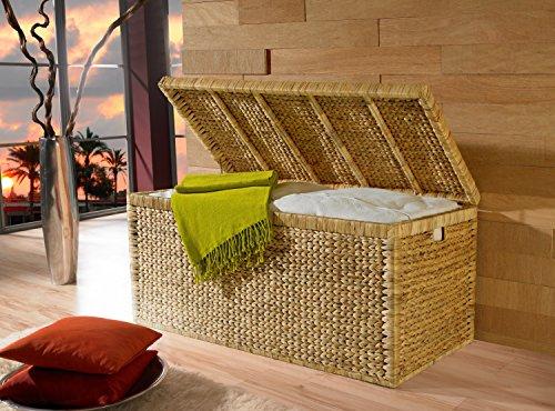Artra Design Truhe mit Klappdeckel 110 cm, Wasserhyazinthe atmungsaktiv Natur, BSCI nachhaltige Aufbewahrungsbox mit Deckel Aufbewahrungskiste Aufbewahrungstruhe - 3