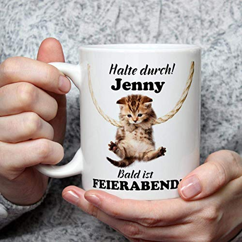 Geschenk Tasse Katze lustig Spruch mit Namen personalisiert Halte Durch Geburtstagsgeschenk für Arbeit Büro Katzenfreunde Frauen Freundin
