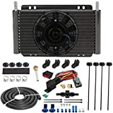 American Volt 11' Engine Transmission Oil Cooler 6' Inch Electric Cooling Fan & 6AN In-line Hose Thermostat Switch Wiring Kit (180'F On - 165'F Off)