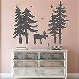 yaofale Árbol de Dibujos Animados Elk Etiqueta de la Pared Papel Pintado de Navidad Vinilo Extraíble Decoración de la habitación Niño Dormitorio Etiqueta Mural Cartel