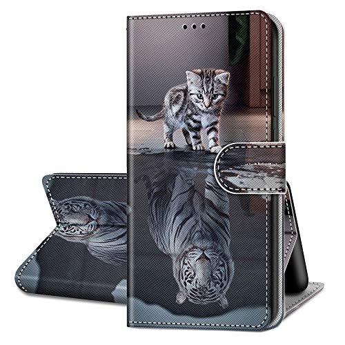 QC-EMART Funda para Samsung Galaxy A32 5G Flip Wallet, Tiger Cat Funda de piel sintética a prueba de golpes con tarjetero cierre magnético 360 Bumper para Samsung Galaxy A32 5G Negro