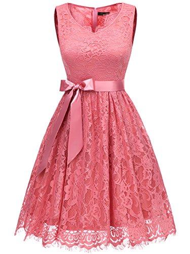 IVNIS RS90041 Damen Floral Spitze Brautjungfern Kleid Knielang V Ausschnitt Cocktail Partykleid Abendkleider Koralle M