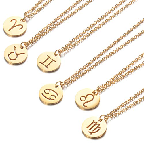 Stainless Steel 12 Constellation Pendant Necklaces For Women Round Coin Zodiac Sign Clavicle Chain Jewelry