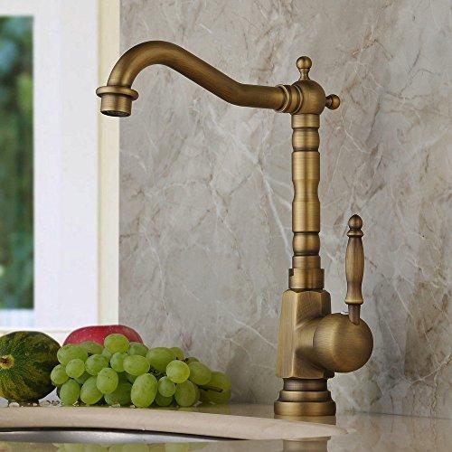 Hiendure® Einlochmontage Einhebelmischer Küchenarmatur Aus Messing Keramik-Kartusche schwenkbarer Rohrauslauf Hoher Auslauf Wasserhahn