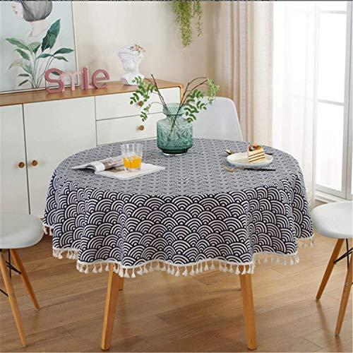 JDHANNE Mantel Redondo, Mantel de algodón y Lino con borlas, Mantel de Estilo Europeo Moderno y fácil de Limpiar, Restaurante, Estudio, Dormitorio