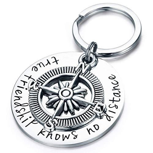 Gleamart Bester Freund Schlüsselanhänger Kompass Echte Freundschaft kennt Keine Entfernung Schlüsselanhänger Geschenke Kompass