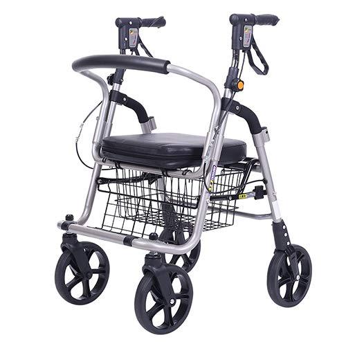 HYRL Ältere Einkaufs-Trolleys, Aluminium-Faltmobility Aid/Walker/Vier Räder, die Leichtgewicht Rollstuhl abwerfen