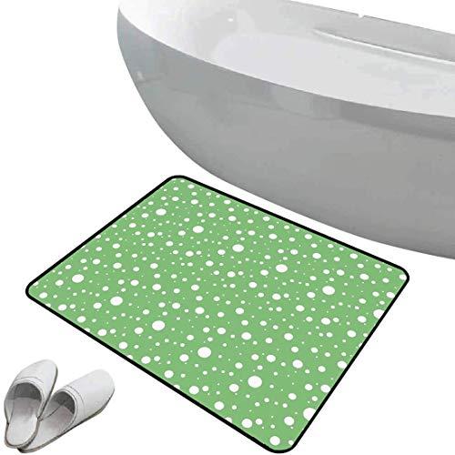 Tapis de bain antidérapant Paillasson vert sol antidérapant en caoutchouc Peintres mur inspiré Big Rounds Spots sur un fond vif Image moderne,vert fougère et blanc,Intérieur/Extérieur/Porte d'entrée/E