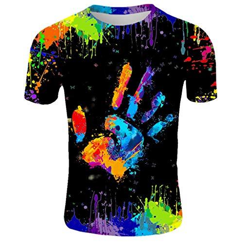 Geilisungren Herren Basic Rundhalsausschnitt Kurzarm T-Shirts Bunt Handabdruck Sommer Bluse Männer 3D Drucken Lustig Shirts Alltag Party Tops