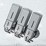 TBSHX Dispensador de jabón de baño, dispensadores de jabón dispensador de botellas cuadrado montado en la pared carro dispensador de jabón, Triple-hung (plata)