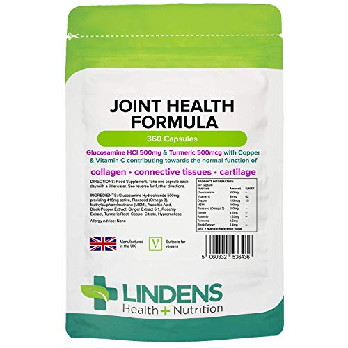 Lindens Joint Health Formula – 360 One-a-Day Capsules – with Turmeric, Black Pepper, Glucosamine, Ginger, Rosehip, MSM, Copper and Omega 3 for Joint Support – Suitable for Vegans - UK Manufacturer