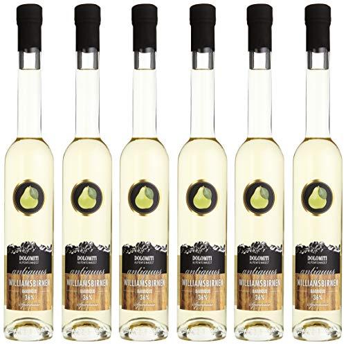 DOLOMITI Antiquus Williamsbirnen Premium Spirituose 36% │ Alte Williams-Birne aus dem Barrique-Fass │ milder & fruchtiger Schnaps │6 x 0.35 Liter