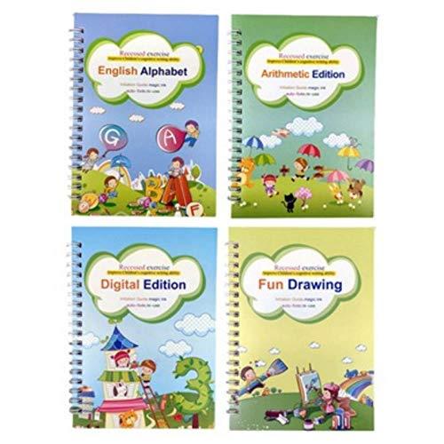 iBaste Cuaderno de ejercicios preescolares, cuaderno de ejercicios de papel grueso inglés para niños para guardería y escuela primaria, perfecto para practicar