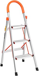 LUISLADDERS 3 Step Ladder Aluminum Lightweight Folding Step Stool Portable Home and Kitchen Anti-Slip Stepladder 330lbs EN131