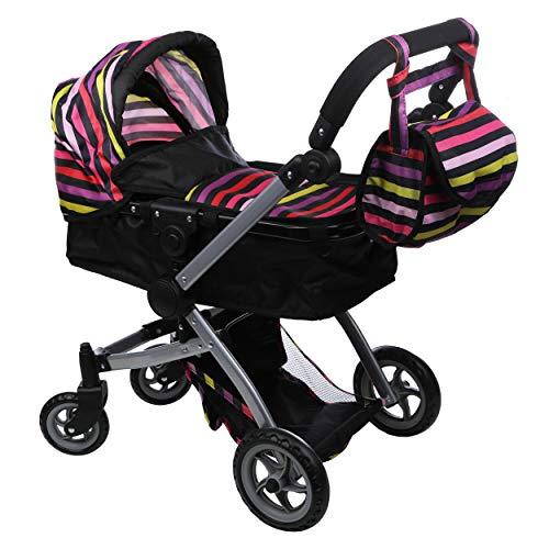 Mommy & Me Babyboo Deluxe Doll Pram with Swiveling Wheels & Adjustable Handle & Free Carriage Bag