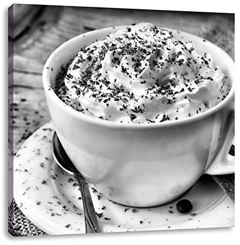 Koffie met veel slagroomCanvas Foto Plein | Maat: 40x40 cm | Wanddecoraties | Kunstdruk | Volledig gemonteerd