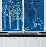 Cortinas de Cocina de Bosque, Paisaje de Invierno con cabaña de casa de Campo Cubierta en árboles, Cuadro Rural, Juego de 2 Paneles para Sala de Estar, Cocina, café, Naranja, Violeta, Azul