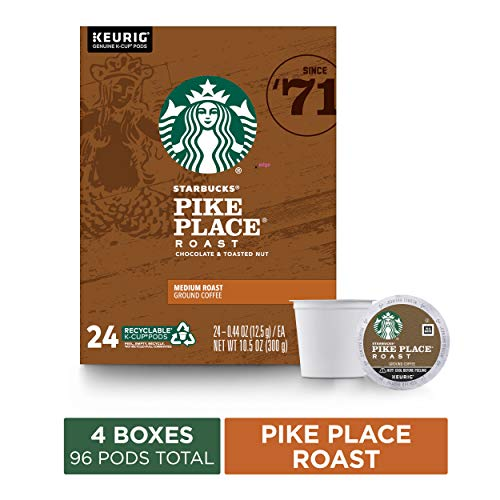 Starbucks Pike Place Roast Coffee K-Cup Pods | Medium Roast | Coffee Pods for Keurig Brewers | 4 Boxes (96 Pods)