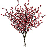 4 Pack ICY Red Berry Picks Artificial Christmas Berry Spray Iced Berry Stems Red Berry Twig Branches for Christmas Holiday Winter Floral Arrangement Centerpiece Seasonal Decoration 18.8' Tall