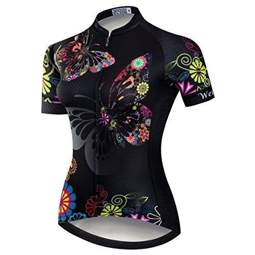 Weimostar Radtrikot Frauen Mountain Bike Trikot Shirts Kurzarm Rennrad Kleidung MTB Tops Sommer Sommer Kleidung Schmetterling schwarz Größe L