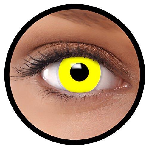 Farbige Kontaktlinsen Gelb + Behälter, weich, ohne Stärke in gelb als 2er Pack (1 Paar)- angenehm zu tragen und perfekt für Halloween, Karneval, Fasching oder Fastnacht Kostüm