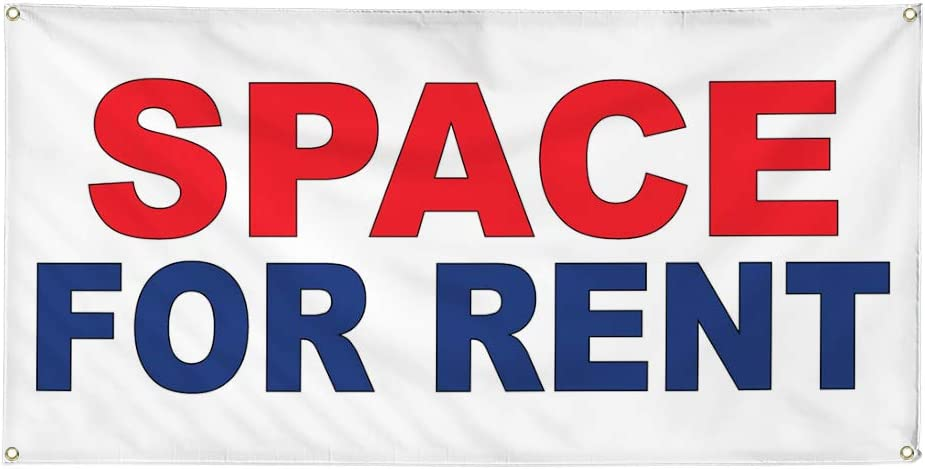 Vinyl Banner Multiple Sizes Space for Rent Red Blue Business Outdoor Weatherproof Industrial Yard Signs 8 Grommets 48x96Inches