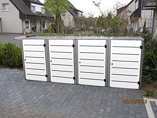 Mülltonnenbox Edelstahl, Modell Eleganza Line, 120 Liter, Viererbox, Weiss - 2