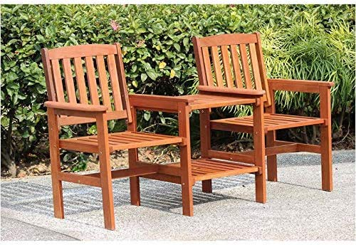 EEMKAY® New Outdoor Solid Wood 2 seat People Jakarta Wooden Companion Set