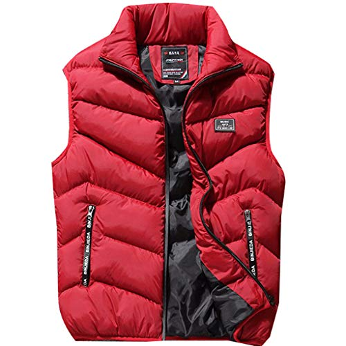 Vest Men's Solid Color Autumn and Winter Warm and Windproof Capless Vest Boys Winter Coats Red