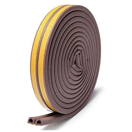 隙間テープ,Misirin 気密 窓 ドア 環境にやさしい 強力接着剤 パッキン 防音 防風 防虫 隙間 すきま 戸当たり 2本入 D型 ブラウン (色選択あり)