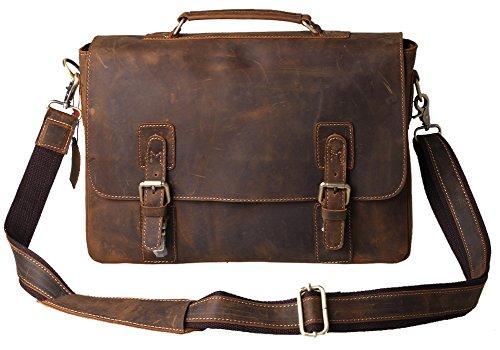 Kattee, valigetta a tracolla per portatile, da uomo, in pelle marrone scuro