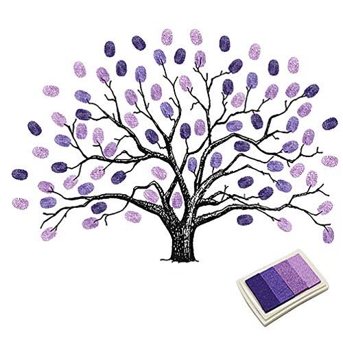 Fingerprints Tree, Proboths Creative Wedding Guest Signature Sign-in Book Canvas Ballons Tree Fingerprints Painting Decor for Wedding Party with 4pcs Ink Pads Purple