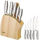 Maestro MR-1411 Bloque Cuchillos Cocina Profesional, 7 pcs.,Taco de Madera, 5 Cuchillos Hojas de Acero Inoxidable, Mangos Ergonómicos Integrados, Tabla de Cortar