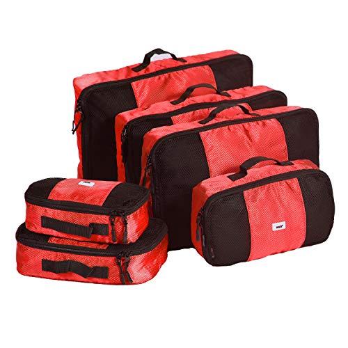 Cubi da imballaggio ANSIO, set organizer per bagagli da viaggio, cubi da viaggio, valigia con sacca di compressione, custodia per la casa, piccolo, medio, grande, XL - (set da 6 pezzi) - rosso