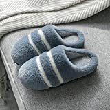 Nwarmsouth Zapatillas de Zapatos Easy Close para Hombre,Zapatos de Invierno de algodón a Rayas, Felpa cálida fregona Gris_39-40,Peluche de Animales Slippers Mujer Hombre