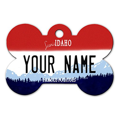 BleuReign(TM Personalized Custom Name Idaho State License Plate Bone Shaped Metal Pet ID Tag with Contact Information