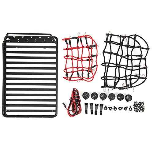 T best RC Roof Rack, 238x156mm Metal 1:10 Scale Remote Control Crawler Car Roof Luggage Rack with Storage Net and LED Light for Jeep Wrangler SCX10 II 90046 47 D90