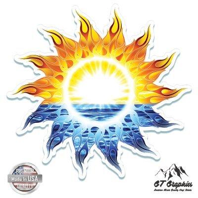 GT Graphics Colorful Sun Beautiful Sunrise - 5' Vinyl Sticker - for Car Laptop I-Pad - Waterproof Decal