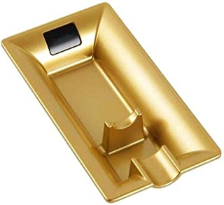GAOTING Ashtray/home ashtray, smoking multifunction tray - Optional gold and black (Color : Gold, Size : 16 * 8.5 * 2.5cm)