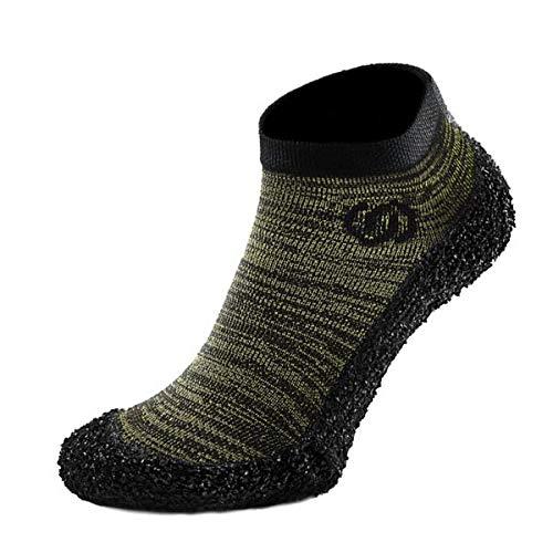 Skinners Minimalist Barefoot Sock Shoes for Men & Women | Ultra Portable Lightweight & Breathable Footwear | (Olive Green (Black Logo), S)