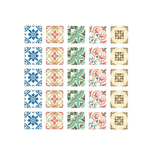 ZYCX123 Teja Decorativa Pegatinas despegar y Pegar Etiquetas a Prueba de Agua Azulejos extraíbles Adhesivo de azulejo de Bricolaje para Entrepaños de Cocina Baño Pavimento Style-002 Multicolor 1PC