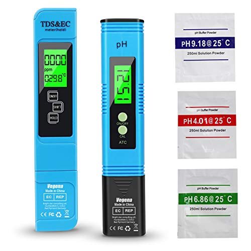 Vegena pH Messgerät, pH TDS EC und Temperatur 4 in 1 Set, Digital PH Wert Messgerät Wasserqualität PH Tester Meter mit LCD Display ATC für Pool Trinkwasser Schwimmbecken Aquarium Labor Hydroponic